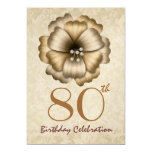 """80th Birthday Party Gold Flower Bow 5"""" X 7"""" Invitation Card"""