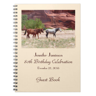 80th Birthday Party Guest Book, Horses in Canyon Spiral Notebook