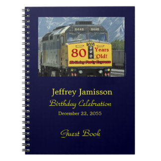 80th Birthday Party Guest Book, Yellow Train Notebook