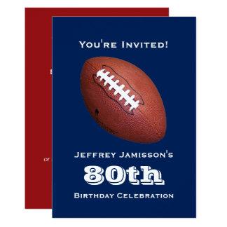 """80th Birthday Party Invitation, Football 5"""" X 7"""" Invitation Card"""