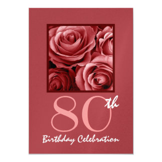 80th Birthday Party Invitation Red Roses