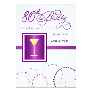 80th Birthday Party Invitations - with Monogram