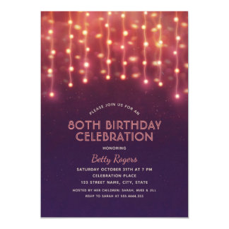 80th Birthday Party Modern Glitter String Lights Card