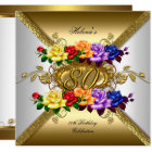 80th Birthday Party Multi Colour Gold Roses Card