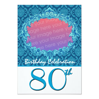 80th Birthday Party Photo Invite Blue Damask