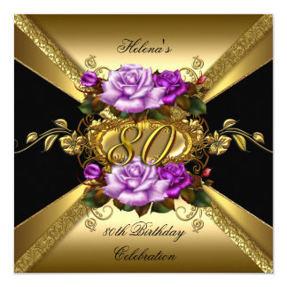 "80th Birthday Party Purple Gold Roses Black 5.25"" Square Invitation Card"