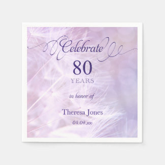 80th Birthday Party Standard Cocktail Napkin Disposable Napkins