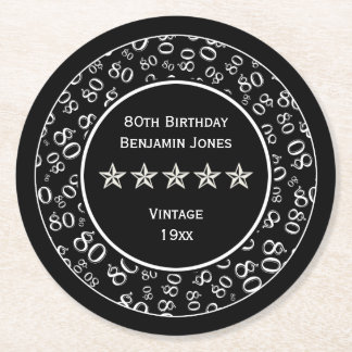 80th Birthday Party White/Black Round Pattern Round Paper Coaster