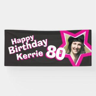 80th birthday star custom photo banner