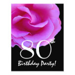 "80th Birthday Template Pink Rose For Her W416 4.25"" X 5.5"" Invitation Card"