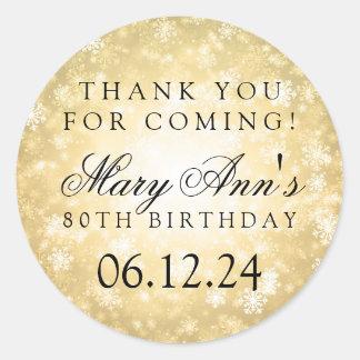 80th Birthday Thank You Gold Winter Wonderland Classic Round Sticker