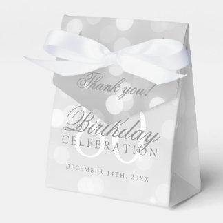80th Birthday Thank You Silver Bokeh Sparkle Light Favor Box