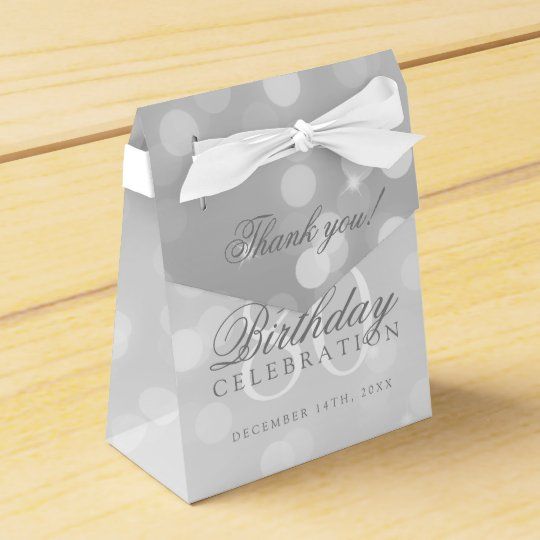 80th Birthday Thank You Silver Bokeh Sparkle Light Party Favor Boxes