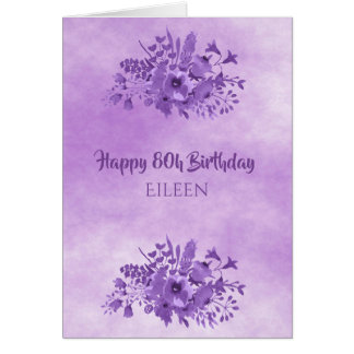 80th birthday ultra violet watercolored flowers card