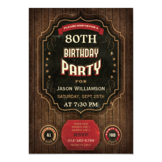 80th Birthday Vintage Chalkboard & Wood Card