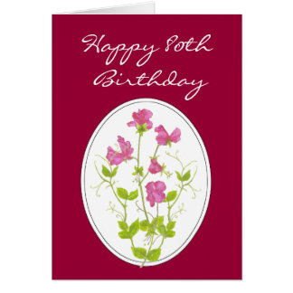 80th Birthday, Watercolor Sweet Pea with Scripture Card