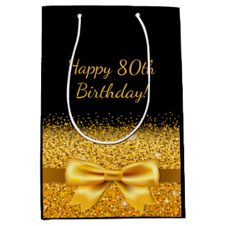 80th birthday with gold bow on chic black medium gift bag