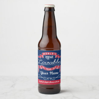 80th Birthday World's Most Lovable 80-Year-Old Beer Bottle Label
