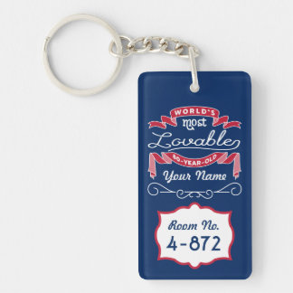 80th Birthday World's Most Lovable 80-Year-Old Double-Sided Rectangular Acrylic Keychain