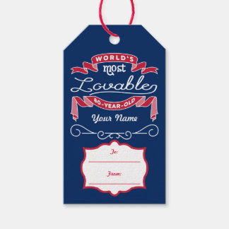 80th Birthday World's Most Lovable 80-Year-Old Pack Of Gift Tags