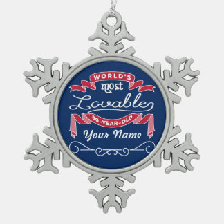 80th Birthday World's Most Lovable 80-Year-Old Pewter Snowflake Ornament