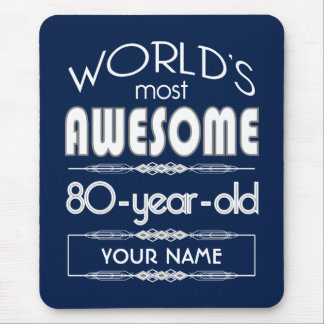 80th Birthday Worlds Best Fabulous Dark Blue Mousepads
