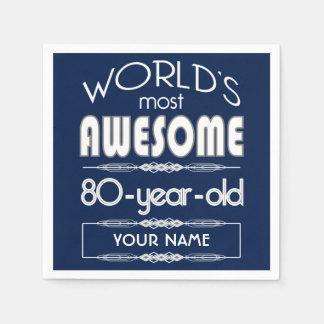 80th Birthday Worlds Best Fabulous Dark Blue Paper Napkins