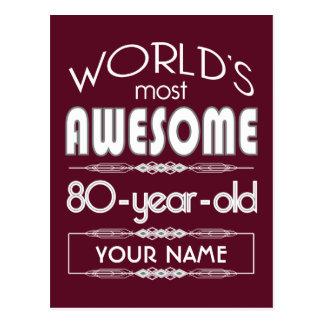 80th Birthday Worlds Best Fabulous Dark Red Postcard