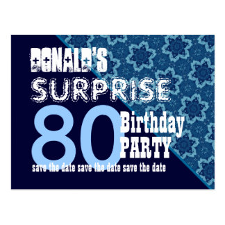 80th Surprise Birthday Save the Date Diagonal VB21 Postcard