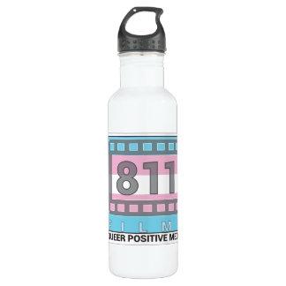 811 Films Trans Logo 24 oz. white water bottle