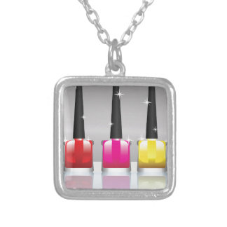 81Nail Polish Bottle_rasterized Silver Plated Necklace