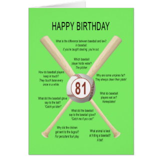 81st birthday baseball jokes card