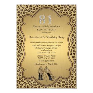 "81st Birthday invitation, numbers diamonds,Cheetah 5"" X 7"" Invitation Card"