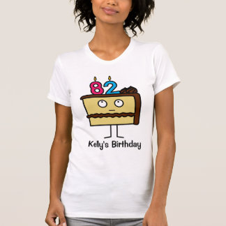 82nd Birthday Cake with Candles T-Shirt