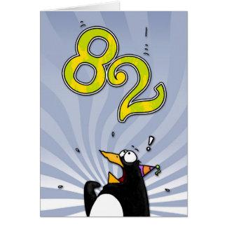 82nd Birthday - Penguin Surprise Card