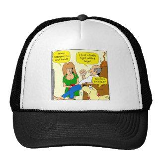 849 lost knife fight with bagel cartoon trucker hat