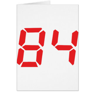 84 eighty-four red alarm clock digital number card