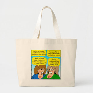 858 angry sisters arguing cartoon large tote bag