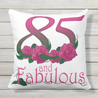 "85 and fabulous Outdoor Throw Pillow 20"" x 20"""