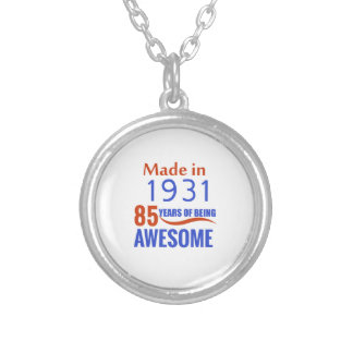 85 birthday design silver plated necklace