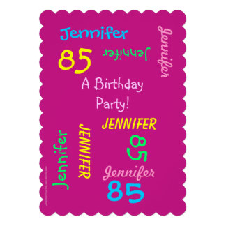 85 Years Young Birthday Party Invitation Custom Announcements
