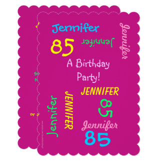 85 Years Young Birthday Party Pink Invitation