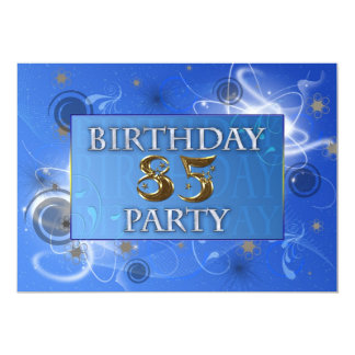 85th Abstract lights Birthday party invitation