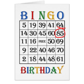 85th Birthday Bingo card