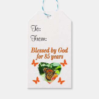 85TH BIRTHDAY BLESSED BY GOD BUTTERFLY DESIGN PACK OF GIFT TAGS