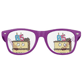 85th Birthday Cake with Candles Retro Sunglasses