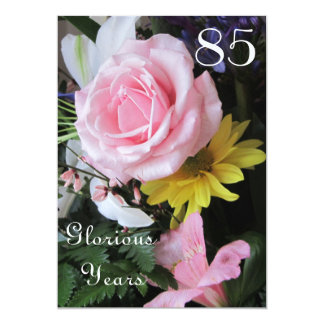 85th Birthday Celebration!-Pink Rose Bouquet Card