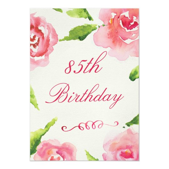 85th Birthday Chic Watercolor Roses Card