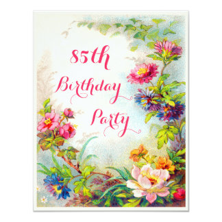 "85th Birthday Dahlias and Peonies Victorian Garden 4.25"" X 5.5"" Invitation Card"