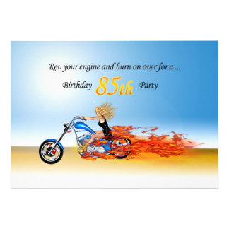 85th birthday Flaming motorcycle party invitation